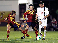 Spain's Canales (l), Sarabia (c) and Norway's Elabdellaoui during an International sub21 match. March 21, 2013.(ALTERPHOTOS/Alconada) /NortePhoto