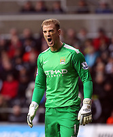 Wednesday, 01 January 2014<br /> Pictured: Manchester City goalkeeper Joe Hart.<br /> Re: Barclay's Premier League, Swansea City FC v Manchester City at the Liberty Stadium, south Wales.