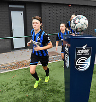 Debbie Decoene (21 Brugge) pictured entering the pitch during a female soccer game between Club Brugge Dames YLA and RSC Anderlecht Ladies on the fifth matchday of the 2020 - 2021 season of Belgian Scooore Womens Super League , sunday 18 October 2020  in Brugge , Belgium . PHOTO SPORTPIX.BE | SPP | DAVID CATRY