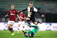 Maria Korenciova of AC Milan saves at the feet of Valentina Cernoia of Juventus as Francesca Vitale of AC Milan looks on during the Serie A Femminile match at Stadio Brianteo, Monza. Picture date: 17th November 2019. Picture credit should read: Jonathan Moscrop/Sportimage  SPI-0316-0050<br /> Foto Jonathan Moscrop/Sportimage/Imago/Insidefoto <br /> ITALY ONLY