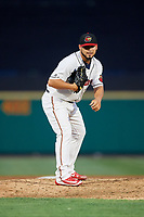 Rochester Red Wings relief pitcher Gabriel Moya (19) looks in for the sign during a game against the Lehigh Valley IronPigs on June 30, 2018 at Frontier Field in Rochester, New York.  Lehigh Valley defeated Rochester 6-2.  (Mike Janes/Four Seam Images)