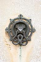 Close-up detail of door bell