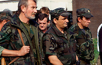 Osijek / Croazia 21-9-1991.Branimir Glava, center in the picture, was the croat commander of the defence in Osijek during the war in 1991-92..Member of Party HDZ, after the conflict he was elected in Parliament..In 2005/2006, Glava was accused of war crimes, guilty of torture and murder of Serb civilians in Osijek during the war, and was sentenced to 10 years in prison..Photo Livio Senigalliesi.