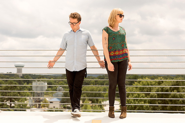 July 25, 2014. Carrboro, North Carolina.<br />   Andy Stack and Jenn Wasner of Wye Oak.<br />  Day three of the MERGE 25 festival, celebrating the 25 year history of the independent record label.