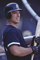 Tino Martinez of the New York Yankees during a 2001 season MLB game at Angel Stadium in Anaheim, California. (Larry Goren/Four Seam Images)