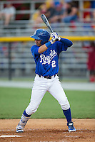 Jose Martinez (2) of the Burlington Royals at bat against the Danville Braves at Burlington Athletic Park on July 12, 2015 in Burlington, North Carolina.  The Royals defeated the Braves 9-3. (Brian Westerholt/Four Seam Images)