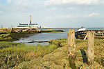 Hoo St Werburgh, Kent Uk. Marshes Medway river estuary derelict abandoned boats. Ship wrecks. Kingsnorth Power Station. Surrounding the river Medway the marshes are those that appear in Great Expectations by Charles Dickens, in the book they are presented as marshes around the Thames.