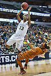 guard Brianna Taylor (20)  defends forward Nina Davis (13) during Big 12 women's basketball championship final, Sunday, March 08, 2015 in Dallas, Tex. (Dan Wozniak/TFV Media via AP Images)