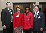 """SOUTHBURY, CT - 1 April 2004 - 040104TH08 -  Chad Wable of Cheshire and St. Marys Hospital, Sandy Vigliotti of Waterbury and Fleet Bank, Teddey-Brown, cq, singer/actor out of New Haven, and Andrew Roberts of Cheshire and Executive Director of the Waterbury YMCA, pose at the United Way of Greater Waterbury """"Digging Deeper"""" Campaign 2003-04 Awards Dinner held at the Southbury Hilton Hotel Thursday night.  TODD HOUGAS PHOTO"""