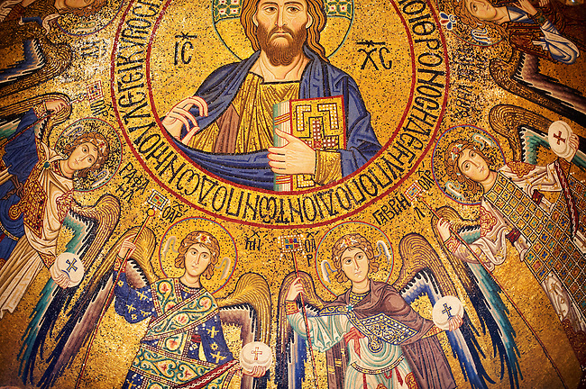 Byzantine mosaics at the Palatine Chapel ( Capella Palatina ) Norman Palace Palermo, Sicily, Italy. Christ in the ceiling dome with the angels.