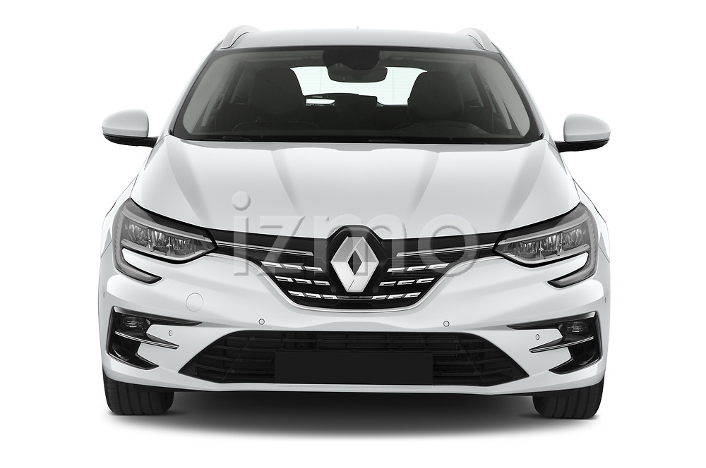 Car photography straight front view of a 2020 Renault Megane-Estate Intens 5 Door wagon Front View