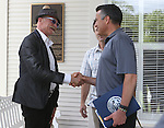 Gov. Brian Sandoval meets cultural icon Gary Fisher at the kick off ceremony for Epic Rides Carson City Off-Road at the Governor's Mansion in Carson City, Nev., on Friday, June 17, 2016. Epic Rides founder Todd Sadow is at rear. <br />
