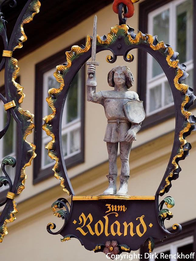 Gaststätte zum Roland, Breite Starße, Quedlinburg, Sachsen-Anhalt, Deutschland, Europa, UNESCO-Weltkulturerbe<br /> Restaurant The Rland in Quedlinburg, Saxony-Anhalt, Germany, Europe, UNESCO World Heritage