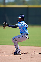 Tampa Bay Rays second baseman Alberto Figuereo (75) during a Minor League Extended Spring Training game against the Atlanta Braves on April 15, 2019 at CoolToday Park Training Complex in North Port, Florida.  (Mike Janes/Four Seam Images)