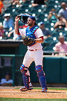 Buffalo Bisons catcher Josh Thole (17) during a game against the Columbus Clippers on July 19, 2015 at Coca-Cola Field in Buffalo, New York.  Buffalo defeated Columbus 4-3 in twelve innings.  (Mike Janes/Four Seam Images)