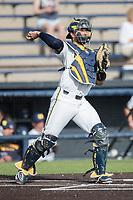Michigan Wolverines catcher Harrison Wenson (7) makes a throw to second base during the NCAA baseball game against the Eastern Michigan Eagles on May 16, 2017 at Ray Fisher Stadium in Ann Arbor, Michigan. Michigan defeated Eastern Michigan 12-4. (Andrew Woolley/Four Seam Images)