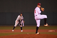 Wisconsin Timber Rattlers Jesus Lujano (7) takes a lead off second base during a Midwest League game against the Lansing Lugnuts at Cooley Law School Stadium on May 2, 2019 in Lansing, Michigan. Lansing defeated Wisconsin 10-4. (Zachary Lucy/Four Seam Images)