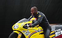 Nov. 12, 2011; Pomona, CA, USA; NHRA pro stock motorcycle rider Michael Phillips during qualifying at the Auto Club Finals at Auto Club Raceway at Pomona. Mandatory Credit: Mark J. Rebilas-.