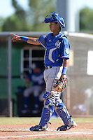 Kansas City Royals catcher Cesar Gonzalez (16) during an instructional league game against the Seattle Mariners on October 2, 2013 at Surprise Stadium Training Complex in Surprise, Arizona.  (Mike Janes/Four Seam Images)