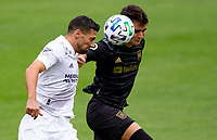 LOS ANGELES, CA - OCTOBER 25: Francisco Ginella #8 of LAFC and Sebastian Lletget #17 of the Los Angeles Galaxy go head to head during a game between Los Angeles Galaxy and Los Angeles FC at Banc of California Stadium on October 25, 2020 in Los Angeles, California.