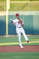 Orem Owlz shortstop Jeremiah Jackson (23) throws to first base during a Pioneer League game against the Idaho Falls Chukars at The Home of the OWLZ on August 13, 2019 in Orem, Utah. Orem defeated Idaho Falls 3-1. (Zachary Lucy/Four Seam Images)