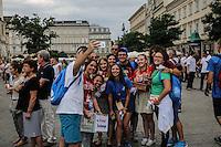 World Youth day Krakow 2016. gruppo di giovani si fa un selfie