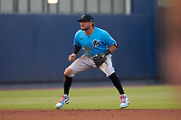 Miami Marlins shortstop Miguel Rojas (19) during a Major League Spring Training game against the Washington Nationals on March 20, 2021 at FITTEAM Ballpark of the Palm Beaches in Palm Beach, Florida.  (Mike Janes/Four Seam Images)