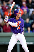 Center fielder Bryce Teodosio (31) of the Clemson Tigers bats in the Reedy River Rivalry game against the South Carolina Gamecocks on Saturday, March 3, 2018, at Fluor Field at the West End in Greenville, South Carolina. Clemson won, 5-1. (Tom Priddy/Four Seam Images)