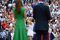 10th July 2021. Wilmbledon, SW London England. Wimbledon Tennis Championships 2021, Ladies singles final Ashleigh Barty versus  Karolina Pliskova (Czech);  Karolina Pliskova is overcome during the trophy presentations