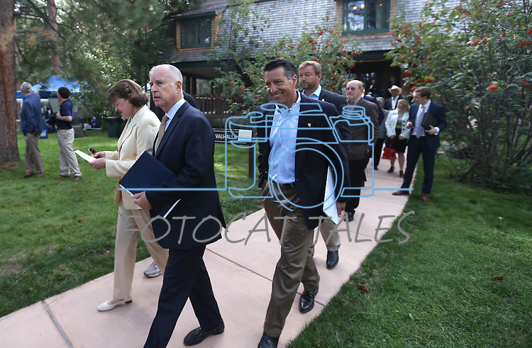 U.S. Sen. Dianne Feinstein, California Gov. Jerry Brown, Nevada Gov. Brian Sandoval and U.S. Sen. Dean Heller enter the 18th annual Lake Tahoe Summit at the Valhalla Estate in South Lake Tahoe, Ca., on Tuesday, Aug. 19, 2014. <br /> Photo by Cathleen Allison