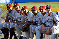 Mahoning Valley Scrappers pitchers (L-R) Harold Guerrero #44, Rafael Homblert #43, Luis DeJesus #33, Luis Encarnacion #35, Luis Morel #50, and Jack Wagoner #12 in the bullpen before a NY-Penn League game against the Batavia Muckdogs at Dwyer Stadium on August 22, 2012 in Batavia, New York.  Batavia defeated Mahoning Valley 3-2.  (Mike Janes/Four Seam Images)