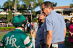 "DEL MAR, CA  AUGUST 24: Trainer John Sadler gives instructions to Flavien Prat  before the Pat O'Brien Stakes (Grade ll) ""Win and You're In Breeders' Cup Dirt Mile Division"" on August 23, 2019 at Del Mar Thoroughbred Club in Del Mar, CA.  ( Photo by Casey Phillips/Eclipse Sportswire/CSM)"