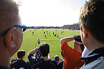 Faroe Islands 0 Scotland 2, 06/06/2007. European Championship Qualifier. Scotland fans behind the goal watching as their team wins a free-kick which lead to the opening goal as Faroe Islands take on Scotland in a Euro 2008 group B qualifying match at the Svangaskard stadium in Toftir. The visitors won the match by 2 goals to nil to stay in contention for a place at the European football championships which were to be held in Switzerland and Austria in the Summer of 2008. It was the first time Scotland had won in the Faroes, the previous two matches ended in draws. Photo by Colin McPherson.