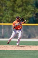 Baltimore Orioles Alejandro Juvier (75) fields the ball during a minor league Spring Training game against the Tampa Bay Rays on March 29, 2017 at the Buck O'Neil Baseball Complex in Sarasota, Florida.  (Mike Janes/Four Seam Images)