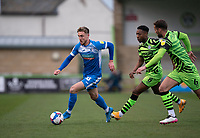 Tom Beadling of Barrow chased by Ebou Adams (8) of FGR during the Sky Bet League 2 match between Forest Green Rovers and Barrow at The New Lawn, Nailsworth on Tuesday 27th April 2021. (Credit: Prime Media Images I MI News)