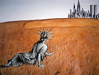 "Miss Liberty:  Miss Liberty in Andrew Wyeth's ""Christina's World""."