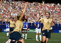 USA's Cat Whitehill celebrates with Heather O'Reilly on a goal that was called back against.Brazil during a 2-0 victory in East Rutherford, NJ, Saturday, June 23, 2007.