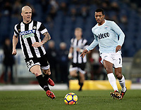Calcio, Serie A: Lazio - Udinese, Roma, stadio Olimpico, 24 gennaio 2018.<br /> Lazio's Luis Carlos Nani (r) in action with Udinese's Emil Halfredsson  (l) during the Italian Serie A football match between Lazio and Udinese at Rome's Olympic stadium, January 24, 2018.<br /> UPDATE IMAGES PRESS/Isabella Bonotto