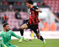 Dominic Solanke of AFC Bournemouth lifts the ball over Asmir Begovic of AFC Bournemouth for the first goal during AFC Bournemouth vs Huddersfield Town, Sky Bet EFL Championship Football at the Vitality Stadium on 12th December 2020