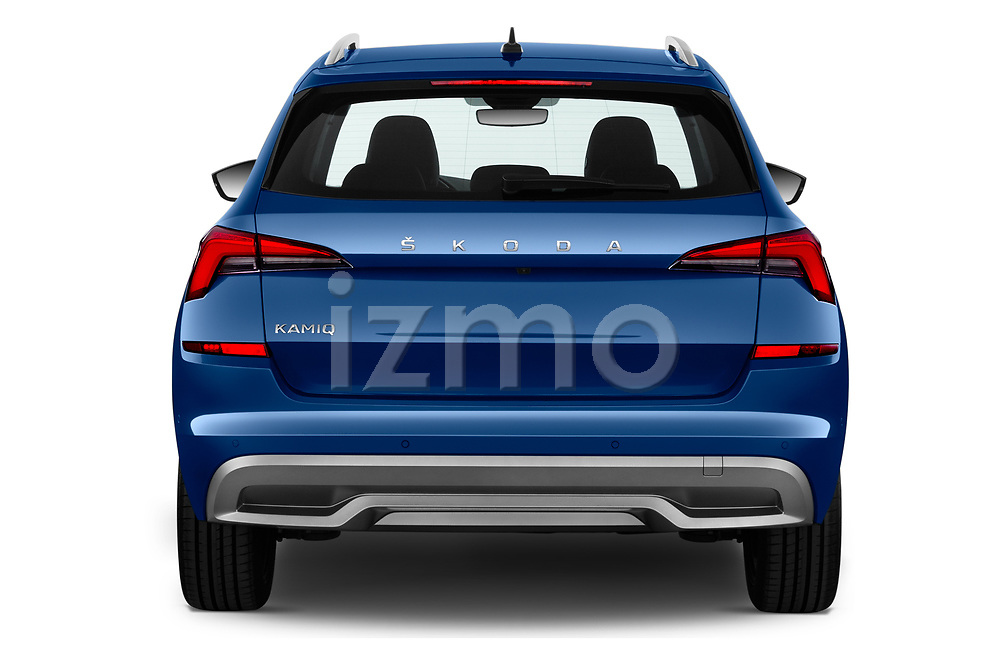 Straight rear view of a 2020 Skoda Kamiq Style 5 Door SUV stock images