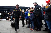 Photo: Richard Lane/Richard Lane Photography. Sale Sharks v Wasps. Aviva Premiership. 19/02/2017. Wasps' Danny Cipriani arrives with team mates before kick off.