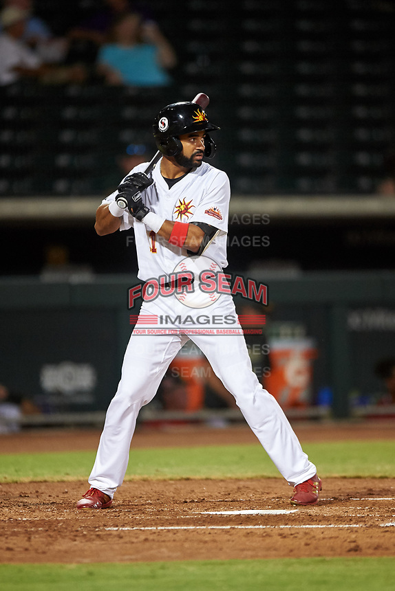 Mesa Solar Sox Derek Hill (11), of the Detroit Tigers organization, at bat during an Arizona Fall League game against the Scottsdale Scorpions on September 18, 2019 at Sloan Park in Mesa, Arizona. Scottsdale defeated Mesa 5-4. (Zachary Lucy/Four Seam Images)