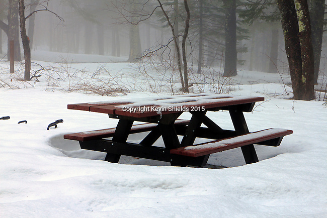 Picnic table in a campground in the late Winter, Camden, Maine.