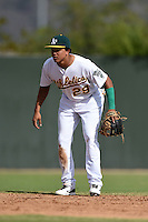 Oakland Athletics shortstop Yairo Munoz (29) during an Instructional League game against the San Francisco Giants on October 15, 2014 at Papago Park Baseball Complex in Phoenix, Arizona.  (Mike Janes/Four Seam Images)