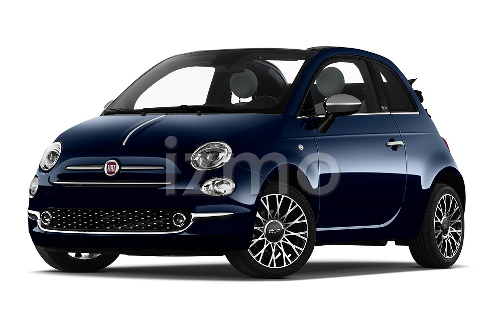 Stock pictures of low aggressive front three quarter view of 2020 Fiat 500C-HYBRID S8-Star 2 Door Convertible Low Aggressive
