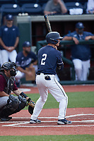 Gray Betts (2) of the Liberty Flames at bat against the Bellarmine Knights at Liberty Baseball Stadium on March 9, 2021 in Lynchburg, VA. (Brian Westerholt/Four Seam Images)