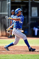 Kansas City Royals minor league infielder Samir Duenez #70 during an instructional league game against the Seattle Mariners at the Peoria Sports Complex on October 2, 2012 in Peoria, Arizona. (Mike Janes/Four Seam Images)