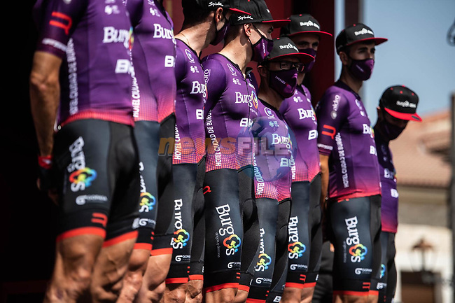 Burgos BH at sign on before the start of Stage 2 of La Vuelta d'Espana 2021, running 166.7km from Caleruega. VIII Centenario de Santo Domingo de Guzmán to Burgos. Gamonal, Spain. 15th August 2021.    <br /> Picture: Unipublic/Charly Lopez   Cyclefile<br /> <br /> All photos usage must carry mandatory copyright credit (© Cyclefile   Unipublic/Charly Lopez)