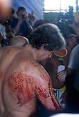 Altamira, Brazil. Encontro Xingu protest meeting about the proposed Belo Monte hydroeletric dam and other dams on the Xingu river and its tributaries. The man from Eletrobras, Paulo Fernando Vieira Souto Rezende, wounded with a machete.