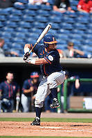 Cal State Fullerton Titans infielder Josh Estill (38) at bat during a game against the Louisville Cardinals on February 15, 2015 at Bright House Field in Clearwater, Florida.  Cal State Fullerton defeated Louisville 8-6.  (Mike Janes/Four Seam Images)